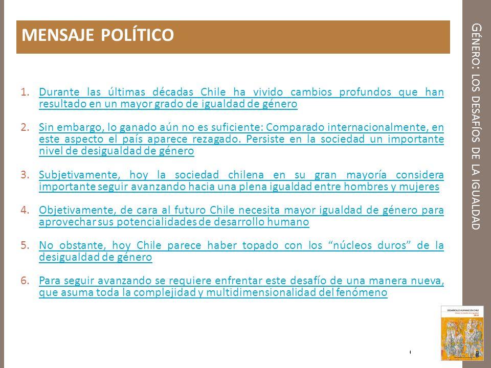 G ÉNERO : LOS DESAFÍOS DE LA IGUALDAD MENSAJE POLÍTICO 1.Durante las últimas décadas Chile ha vivido cambios profundos que han resultado en un mayor g