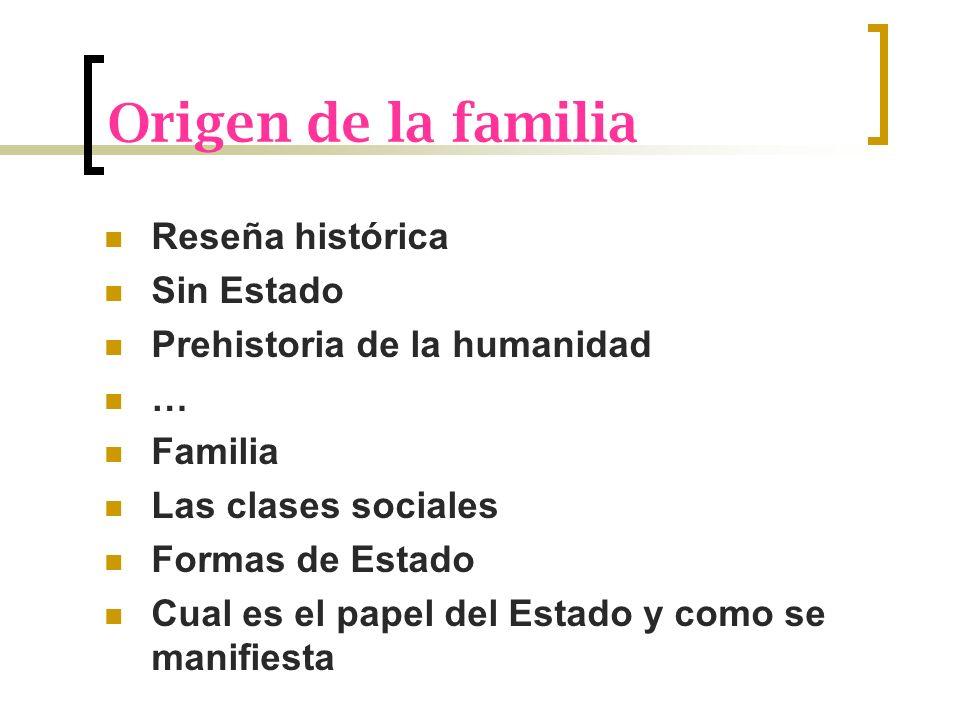 Origen de la familia Reseña histórica Sin Estado Prehistoria de la humanidad … Familia Las clases sociales Formas de Estado Cual es el papel del Estad