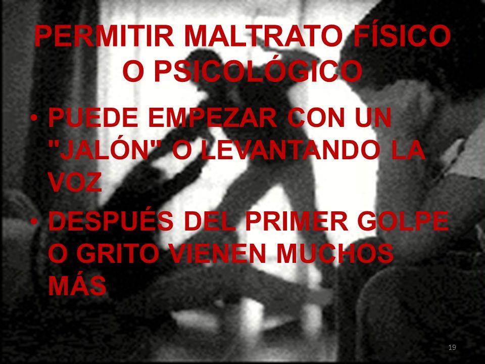 PERMITIR MALTRATO FÍSICO O PSICOLÓGICO PUEDE EMPEZAR CON UN