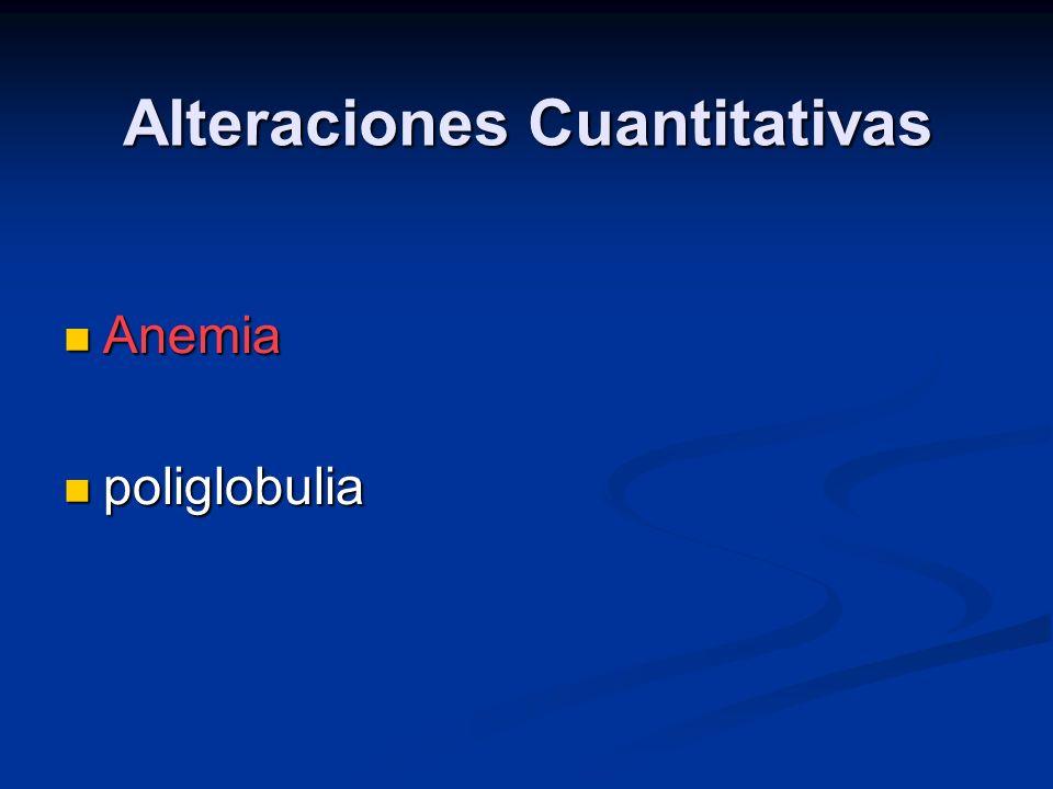 Alteraciones Cuantitativas Anemia Anemia poliglobulia poliglobulia