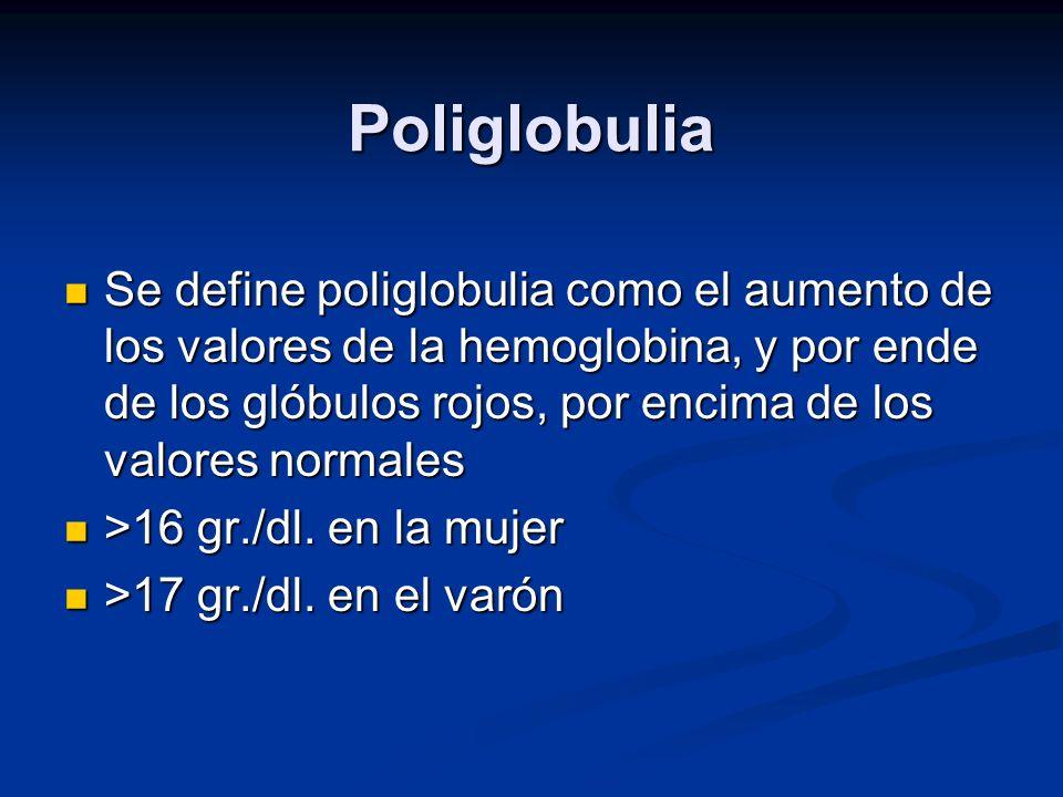 Poliglobulia Se define poliglobulia como el aumento de los valores de la hemoglobina, y por ende de los glóbulos rojos, por encima de los valores norm