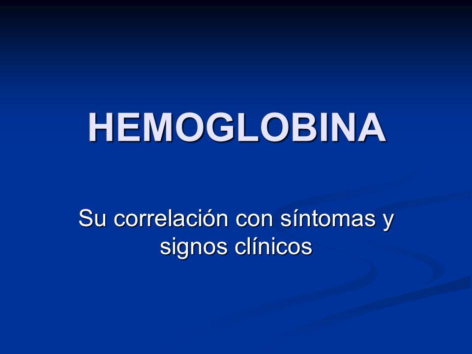 HEMOGLOBINA Su correlación con síntomas y signos clínicos