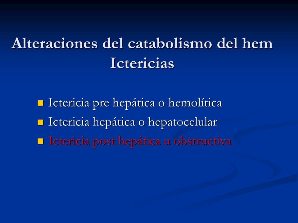 Alteraciones del catabolismo del hem Ictericias Ictericia pre hepática o hemolítica Ictericia pre hepática o hemolítica Ictericia hepática o hepatocel