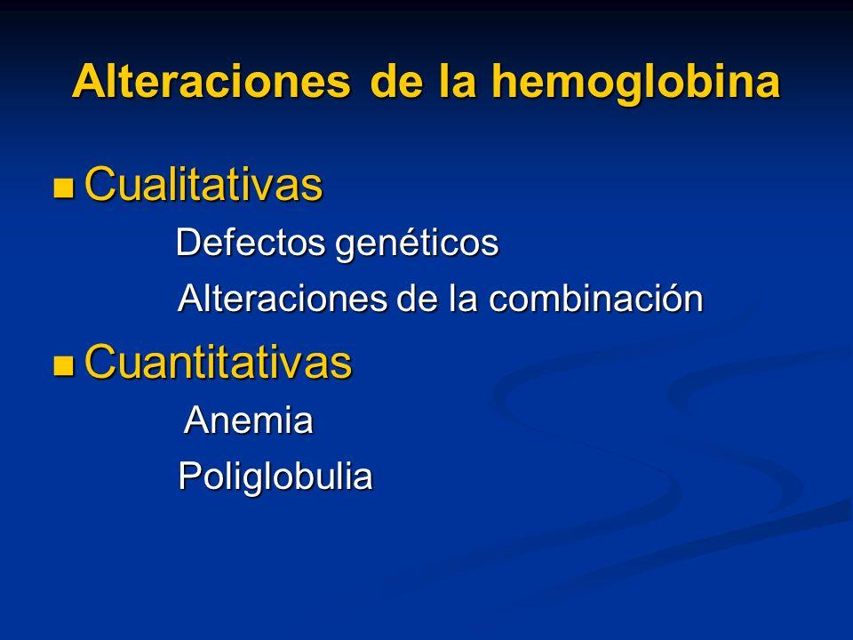 Alteraciones de la hemoglobina Cualitativas Cualitativas Defectos genéticos Defectos genéticos Alteraciones de la combinación Alteraciones de la combi