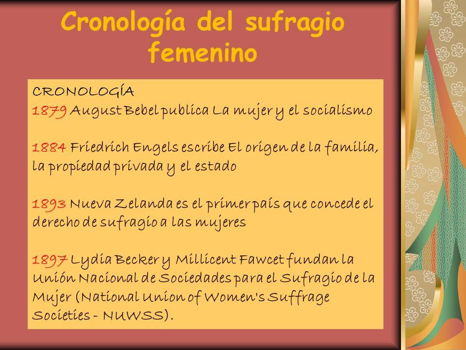Cronología del sufragio femenino CRONOLOGÍA 1879 August Bebel publica La mujer y el socialismo 1884 Friedrich Engels escribe El origen de la familia,