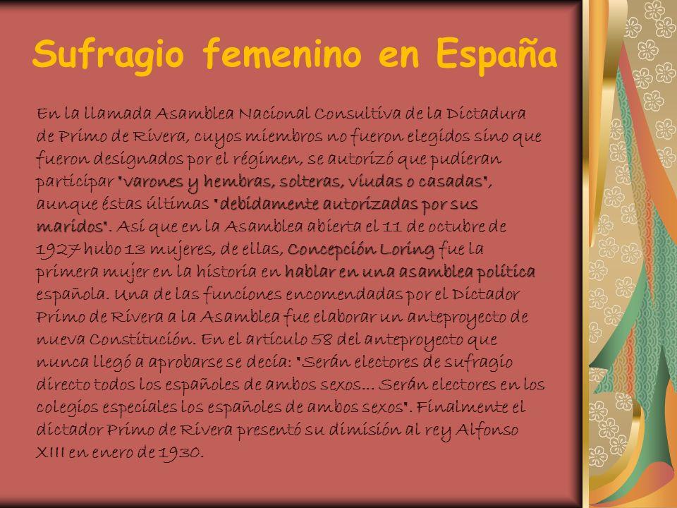 Sufragio femenino en España varones y hembras, solteras, viudas o casadas debidamente autorizadas por sus maridos Concepción Loring hablar en una asam