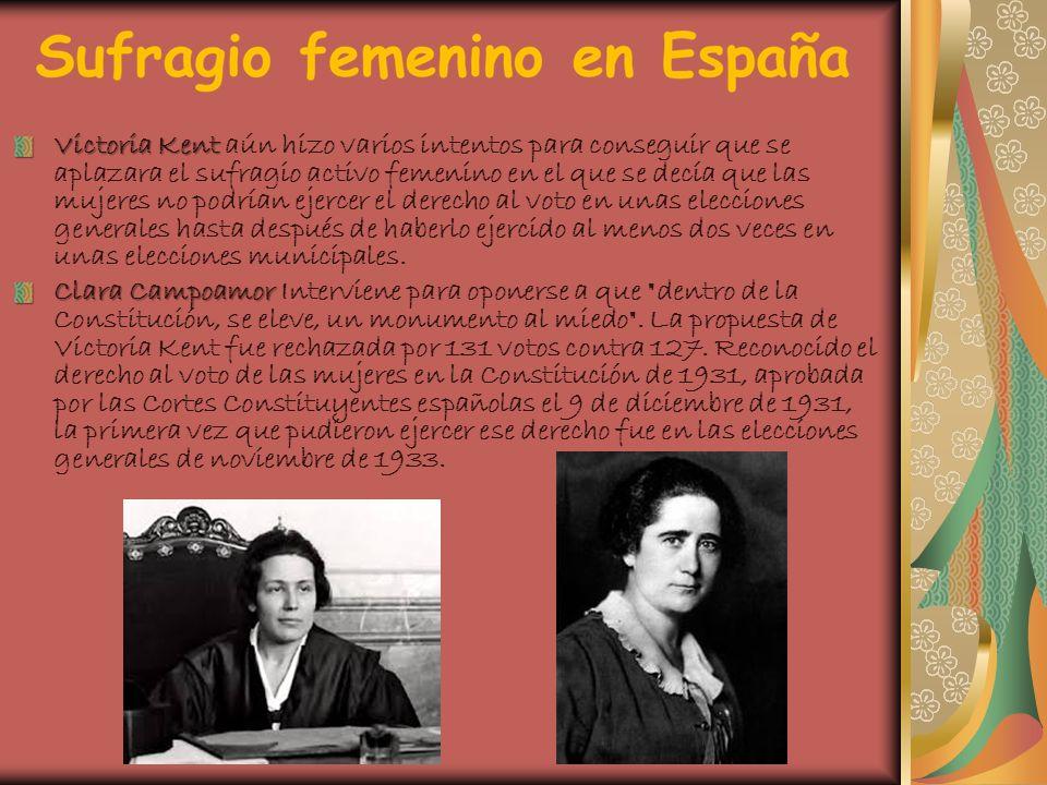 Victoria Kent Victoria Kent aún hizo varios intentos para conseguir que se aplazara el sufragio activo femenino en el que se decía que las mujeres no