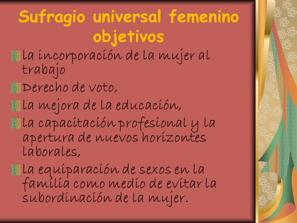 Sufragio universal femenino objetivos la incorporación de la mujer al trabajo Derecho de voto, la mejora de la educación, la capacitación profesional