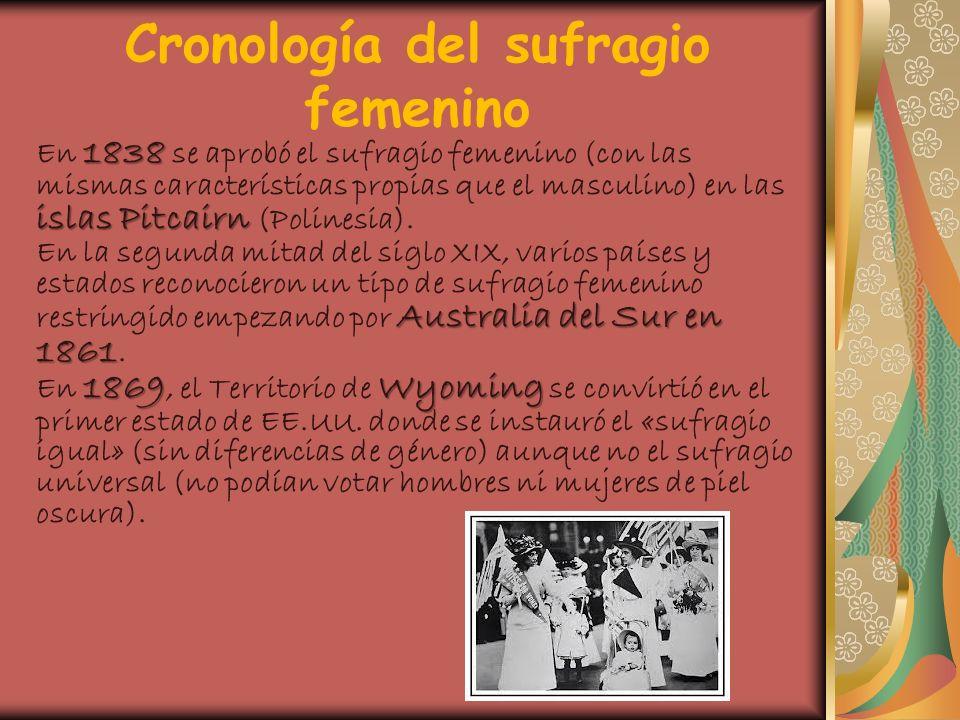 Cronología del sufragio femenino 1838 islas Pitcairn En 1838 se aprobó el sufragio femenino (con las mismas características propias que el masculino)