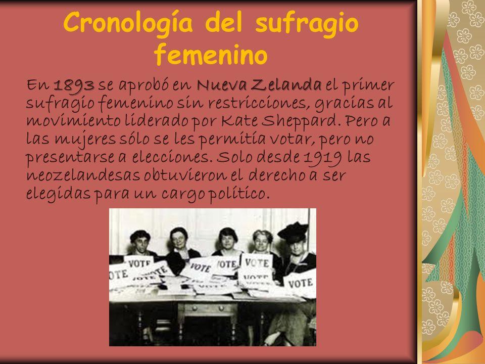 Cronología del sufragio femenino 1893Nueva Zelanda En 1893 se aprobó en Nueva Zelanda el primer sufragio femenino sin restricciones, gracias al movimi