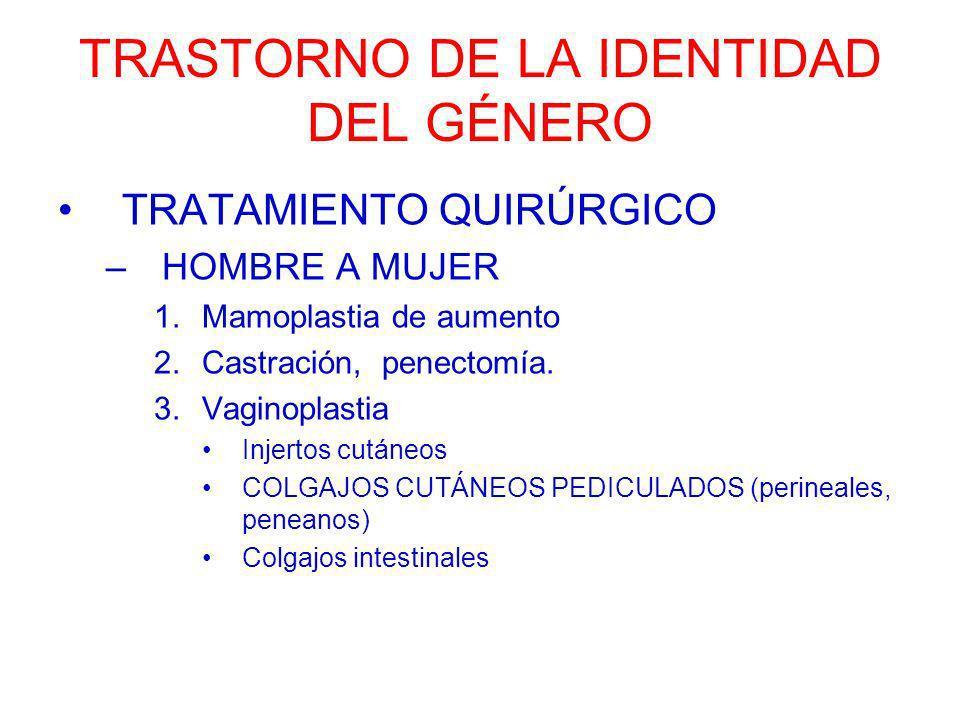 TRASTORNO DE LA IDENTIDAD DEL GÉNERO TRATAMIENTO QUIRÚRGICO –HOMBRE A MUJER 1.Mamoplastia de aumento 2.Castración, penectomía. 3.Vaginoplastia Injerto