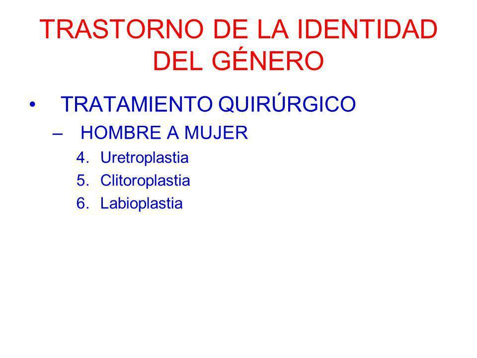 TRASTORNO DE LA IDENTIDAD DEL GÉNERO TRATAMIENTO QUIRÚRGICO –HOMBRE A MUJER 4.Uretroplastia 5.Clitoroplastia 6.Labioplastia