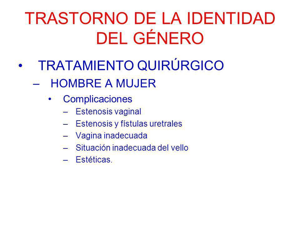 TRASTORNO DE LA IDENTIDAD DEL GÉNERO TRATAMIENTO QUIRÚRGICO –HOMBRE A MUJER Complicaciones –Estenosis vaginal –Estenosis y fístulas uretrales –Vagina
