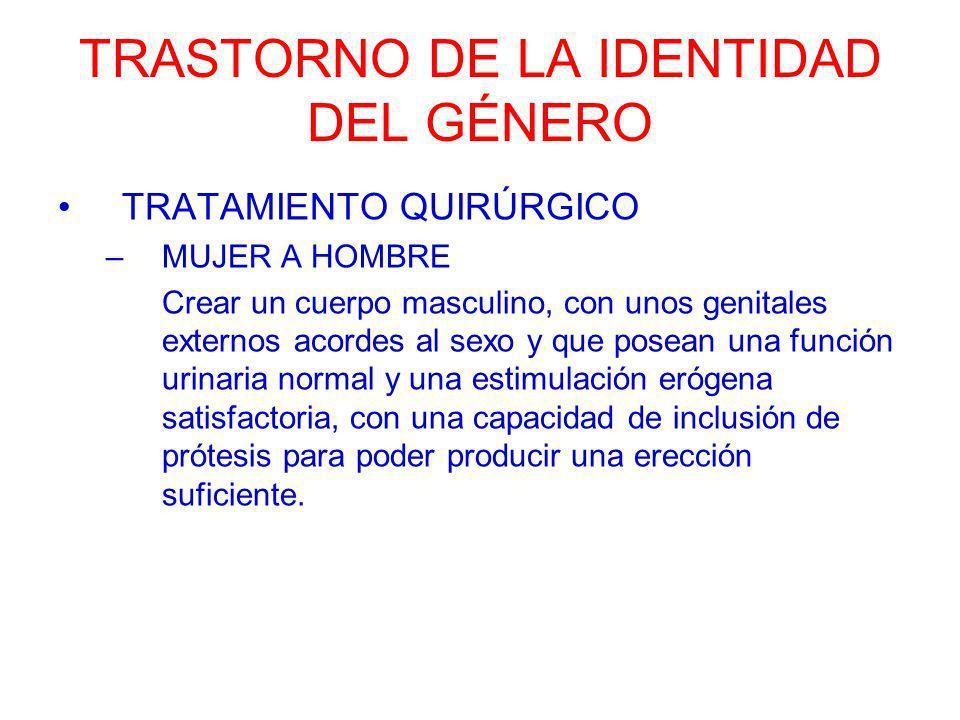 TRASTORNO DE LA IDENTIDAD DEL GÉNERO TRATAMIENTO QUIRÚRGICO –MUJER A HOMBRE Crear un cuerpo masculino, con unos genitales externos acordes al sexo y q