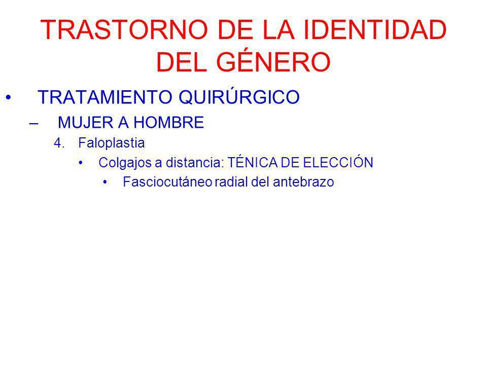TRASTORNO DE LA IDENTIDAD DEL GÉNERO TRATAMIENTO QUIRÚRGICO –MUJER A HOMBRE 4.Faloplastia Colgajos a distancia: TÉNICA DE ELECCIÓN Fasciocutáneo radia