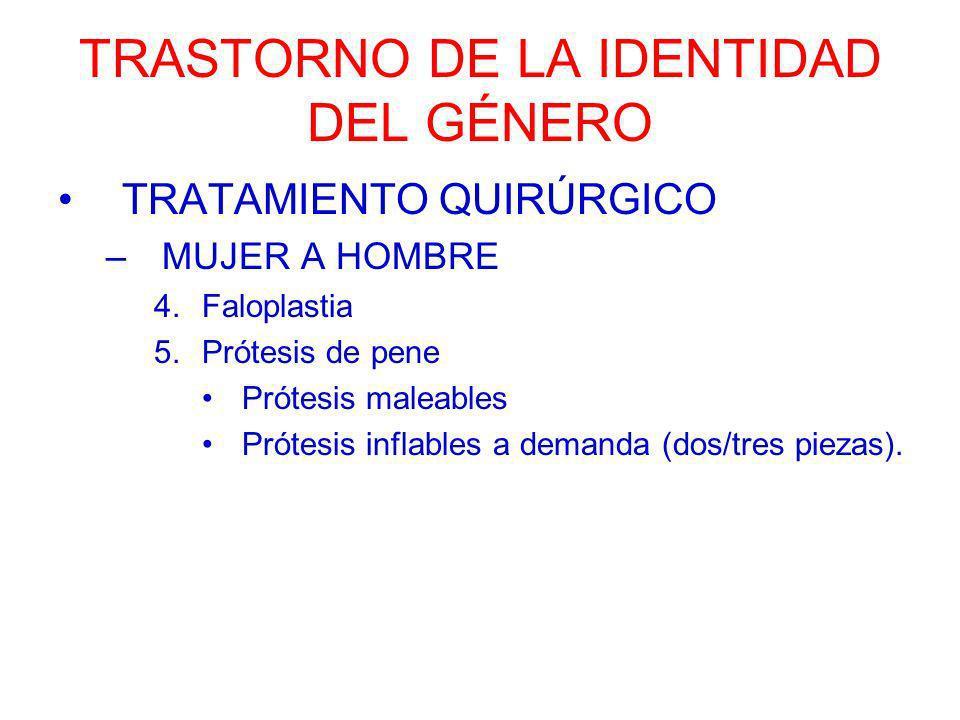 TRASTORNO DE LA IDENTIDAD DEL GÉNERO TRATAMIENTO QUIRÚRGICO –MUJER A HOMBRE 4.Faloplastia 5.Prótesis de pene Prótesis maleables Prótesis inflables a d