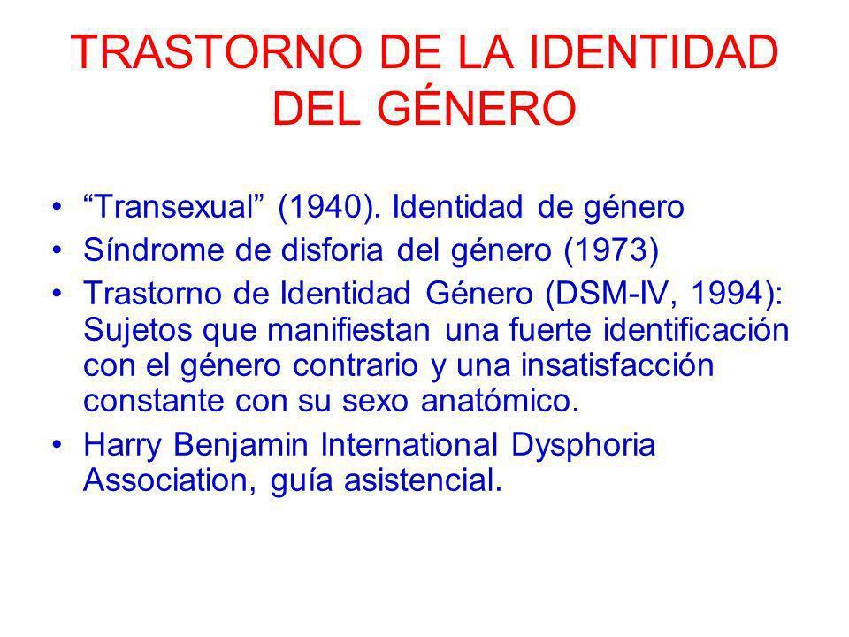 TRASTORNO DE LA IDENTIDAD DEL GÉNERO Transexual (1940). Identidad de género Síndrome de disforia del género (1973) Trastorno de Identidad Género (DSM-