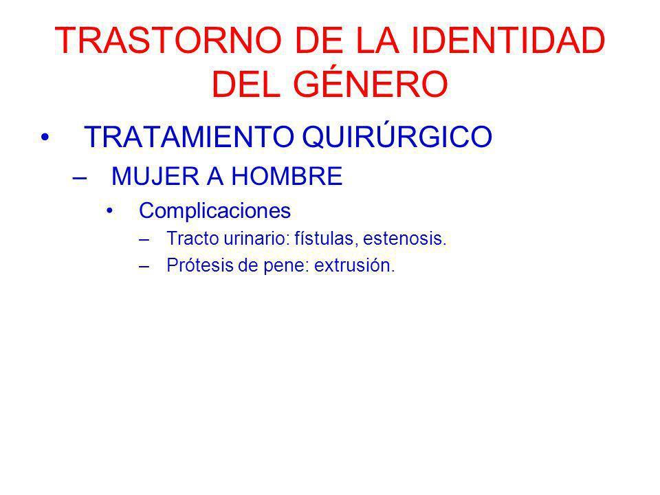 TRASTORNO DE LA IDENTIDAD DEL GÉNERO TRATAMIENTO QUIRÚRGICO –MUJER A HOMBRE Complicaciones –Tracto urinario: fístulas, estenosis. –Prótesis de pene: e