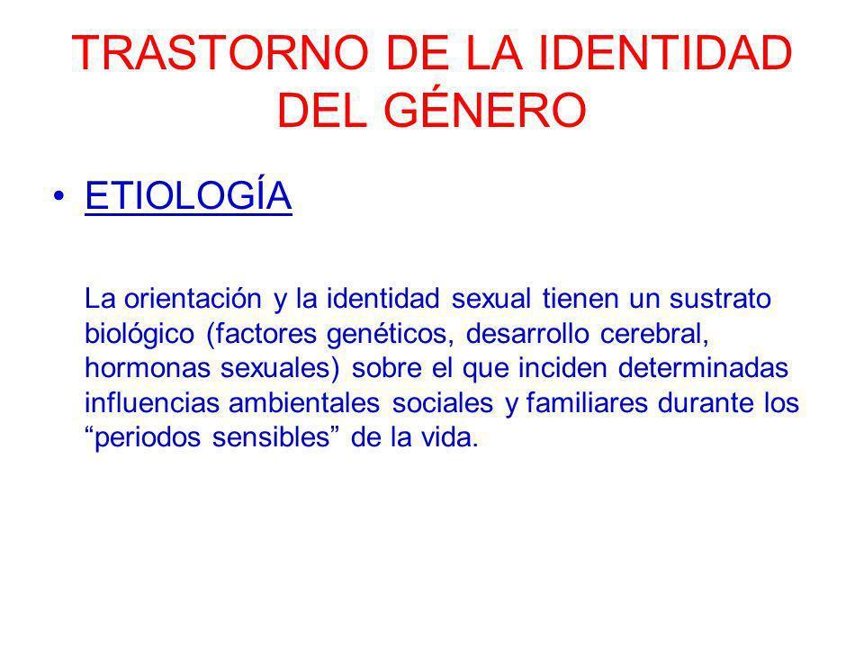 TRASTORNO DE LA IDENTIDAD DEL GÉNERO ETIOLOGÍA La orientación y la identidad sexual tienen un sustrato biológico (factores genéticos, desarrollo cereb