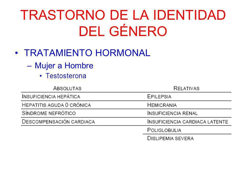 TRASTORNO DE LA IDENTIDAD DEL GÉNERO TRATAMIENTO QUIRÚRGICO –MUJER A HOMBRE 4.Faloplastia 5.Prótesis de pene Prótesis maleables Prótesis inflables a demanda (dos/tres piezas).