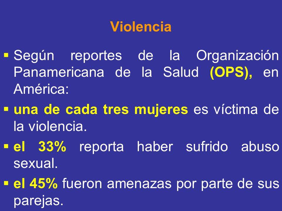 Violencia Según reportes de la Organización Panamericana de la Salud (OPS), en América: una de cada tres mujeres es víctima de la violencia. el 33% re