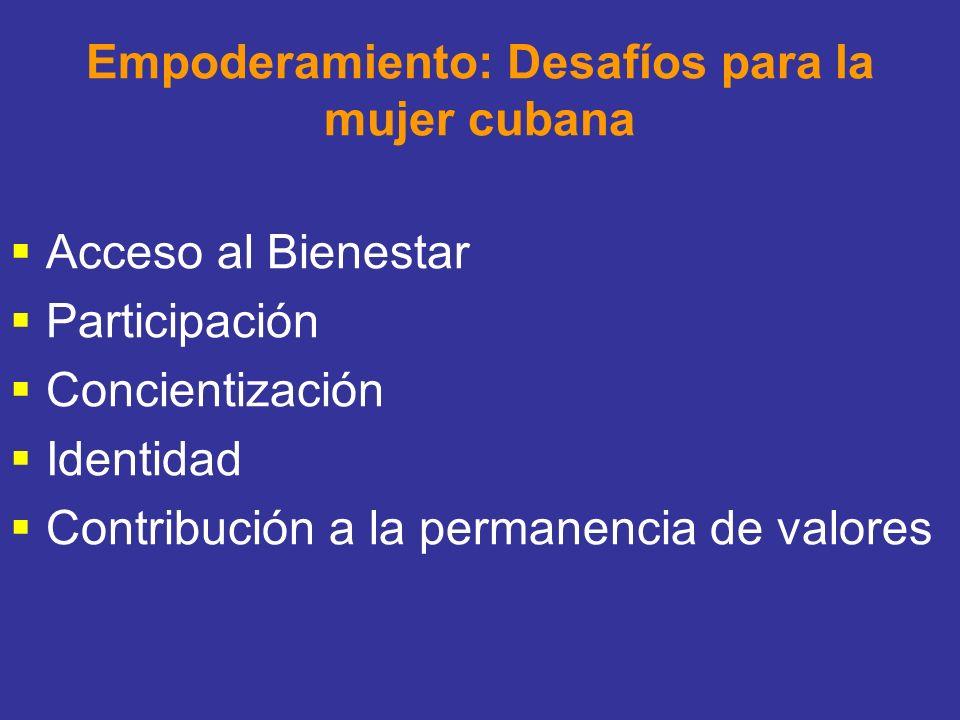 Empoderamiento: Desafíos para la mujer cubana Acceso al Bienestar Participación Concientización Identidad Contribución a la permanencia de valores