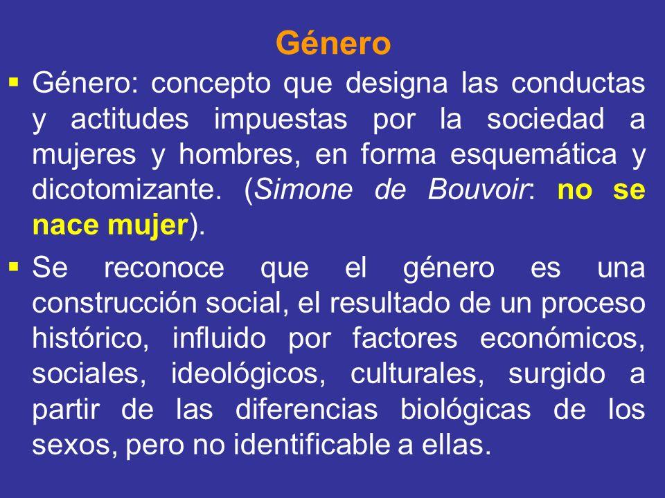 Género Género: concepto que designa las conductas y actitudes impuestas por la sociedad a mujeres y hombres, en forma esquemática y dicotomizante. (Si
