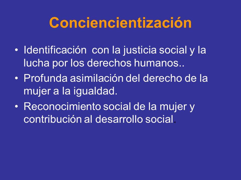 Conciencientización Identificación con la justicia social y la lucha por los derechos humanos.. Profunda asimilación del derecho de la mujer a la igua