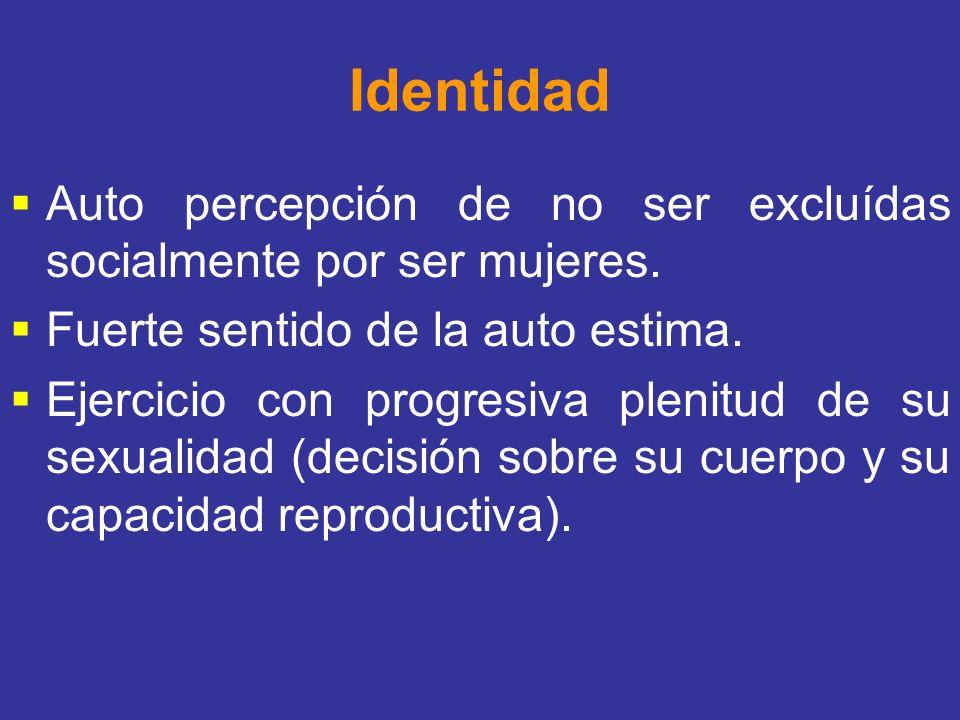 Identidad Auto percepción de no ser excluídas socialmente por ser mujeres. Fuerte sentido de la auto estima. Ejercicio con progresiva plenitud de su s