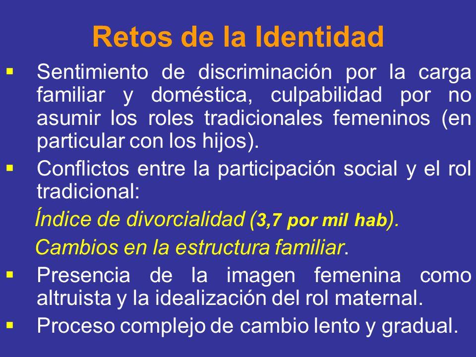 Retos de la Identidad Sentimiento de discriminación por la carga familiar y doméstica, culpabilidad por no asumir los roles tradicionales femeninos (e