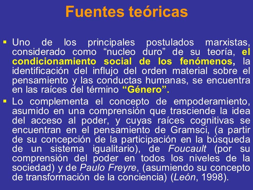 Fuentes teóricas Uno de los principales postulados marxistas, considerado como nucleo duro de su teoría, el condicionamiento social de los fenómenos,