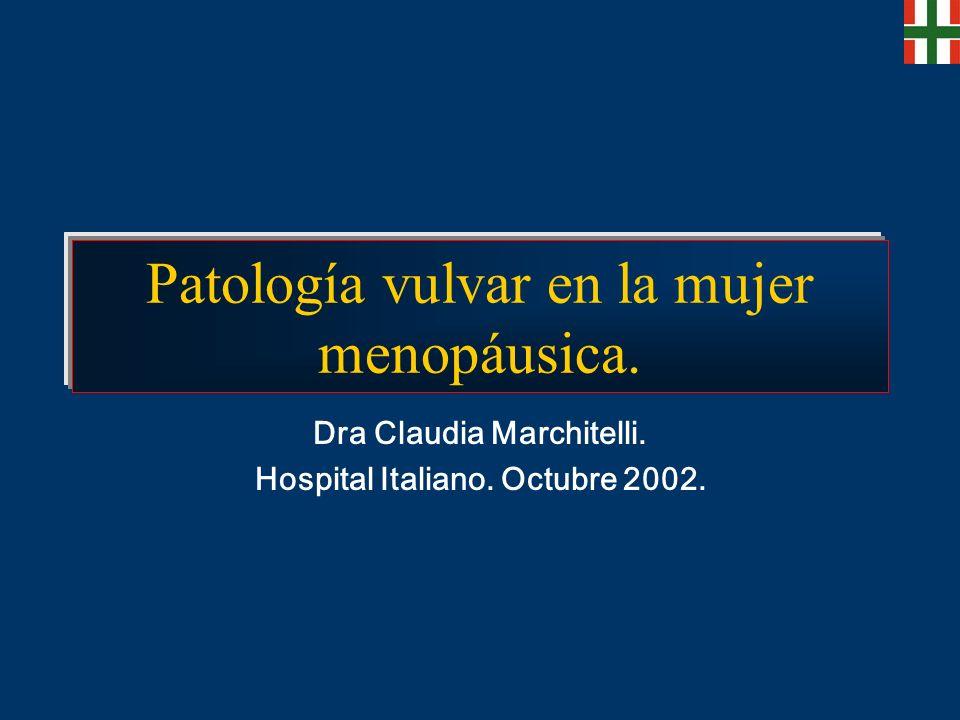 Patología vulvar en la mujer menopáusica. Dra Claudia Marchitelli. Hospital Italiano. Octubre 2002.