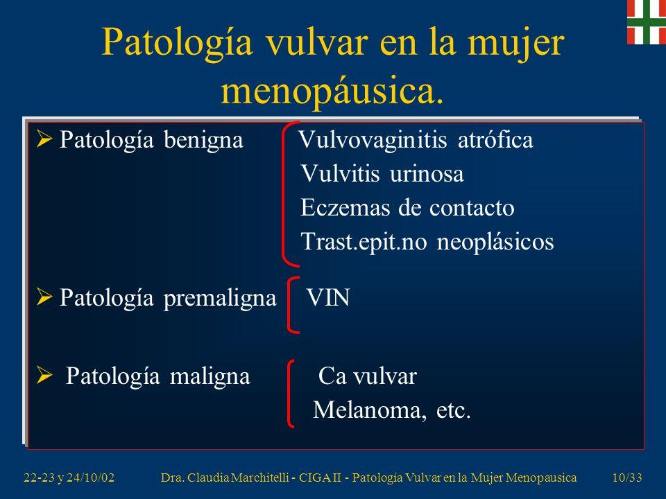 22-23 y 24/10/02Dra. Claudia Marchitelli - CIGA II - Patología Vulvar en la Mujer Menopausica9/33 Patología vulvar en la mujer menopáusica. Incontinen