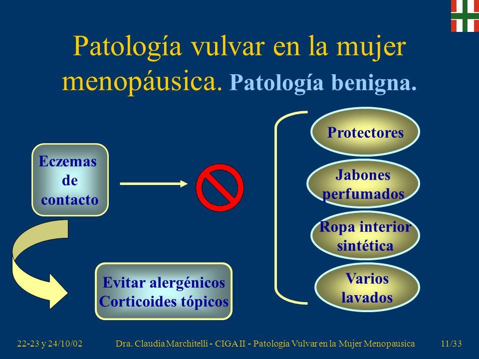 22-23 y 24/10/02Dra. Claudia Marchitelli - CIGA II - Patología Vulvar en la Mujer Menopausica10/33 Patología vulvar en la mujer menopáusica. Patología