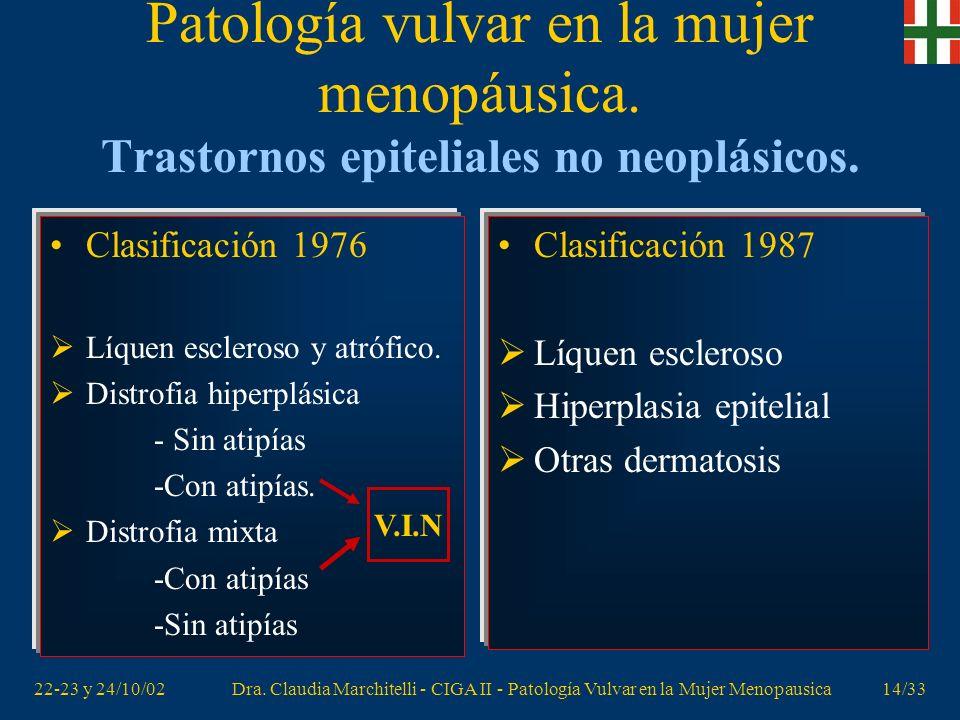 22-23 y 24/10/02Dra. Claudia Marchitelli - CIGA II - Patología Vulvar en la Mujer Menopausica13/33 Patología vulvar en la mujer menopáusica. Patología