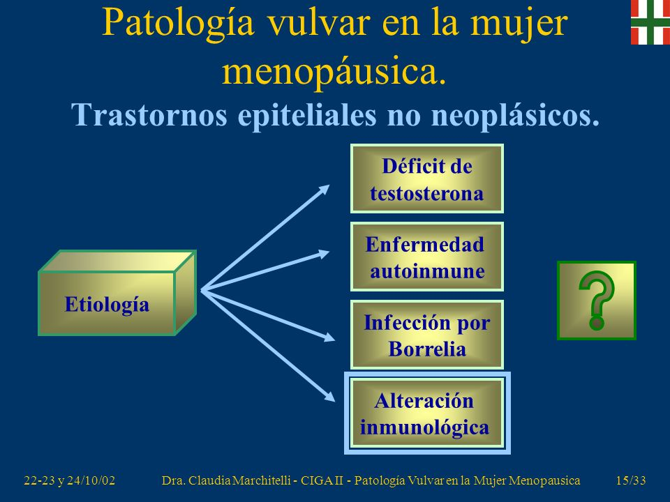 22-23 y 24/10/02Dra. Claudia Marchitelli - CIGA II - Patología Vulvar en la Mujer Menopausica14/33 Patología vulvar en la mujer menopáusica. Trastorno