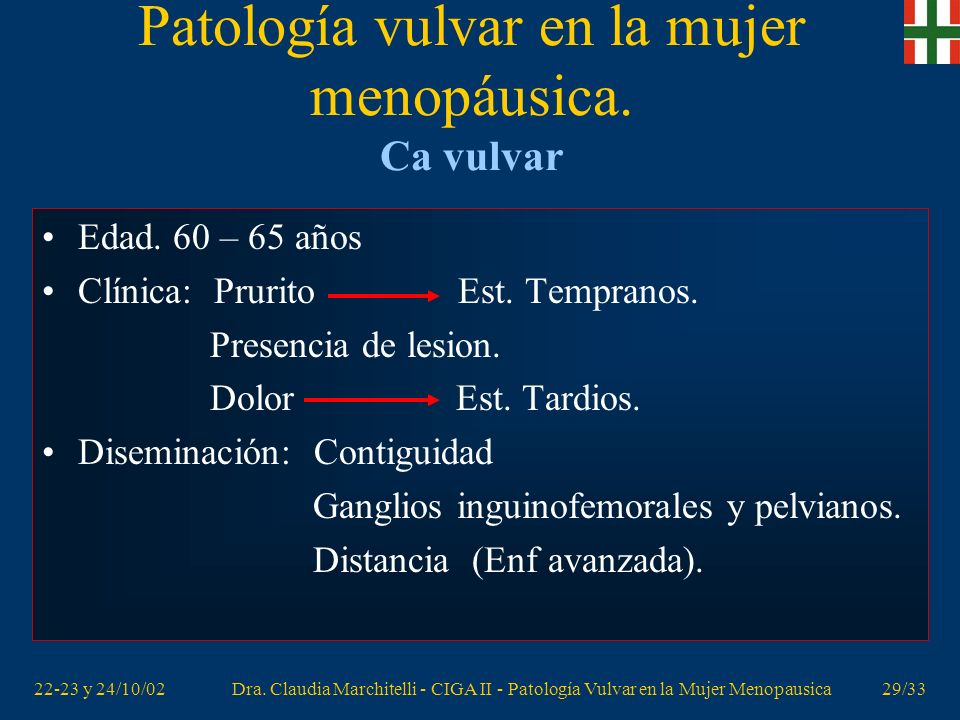 22-23 y 24/10/02Dra. Claudia Marchitelli - CIGA II - Patología Vulvar en la Mujer Menopausica28/33 Patología vulvar en la mujer menopáusica. Neoplasia