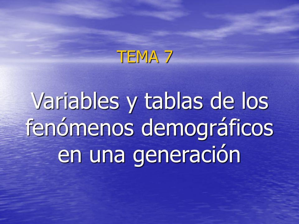 TEMA 7 Variables y tablas de los fenómenos demográficos en una generación