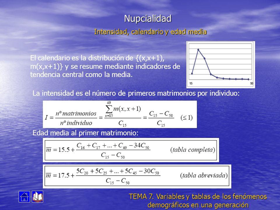 Nupcialidad Intensidad, calendario y edad media El calendario es la distribución de {(x,x+1), m(x,x+1)} y se resume mediante indicadores de tendencia