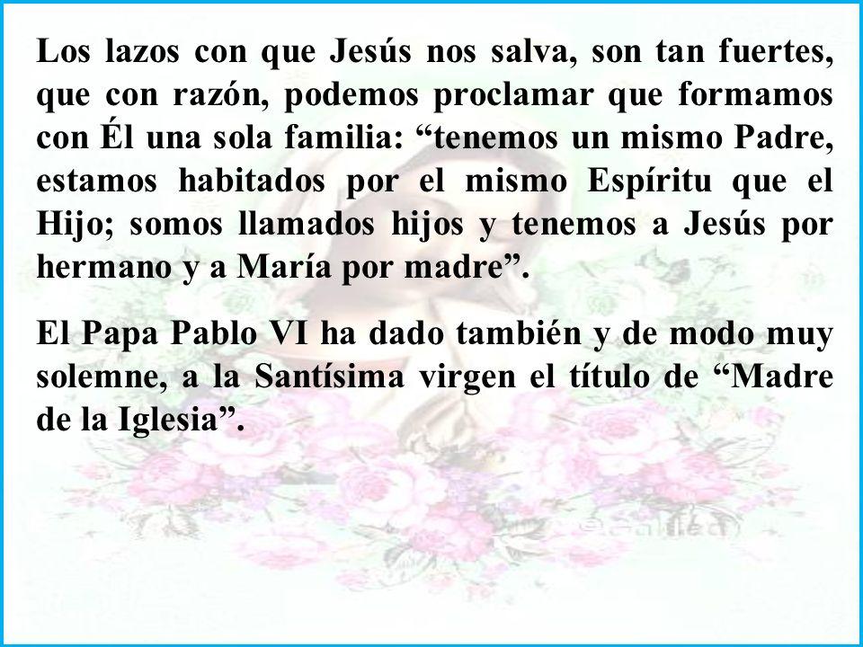 Los lazos con que Jesús nos salva, son tan fuertes, que con razón, podemos proclamar que formamos con Él una sola familia: tenemos un mismo Padre, estamos habitados por el mismo Espíritu que el Hijo; somos llamados hijos y tenemos a Jesús por hermano y a María por madre.