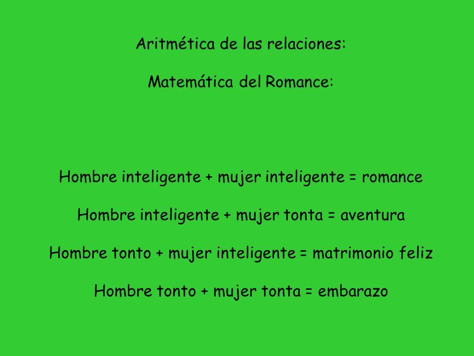 Aritmética de las relaciones: Matemática del Romance: Hombre inteligente + mujer inteligente = romance Hombre inteligente + mujer tonta = aventura Hom