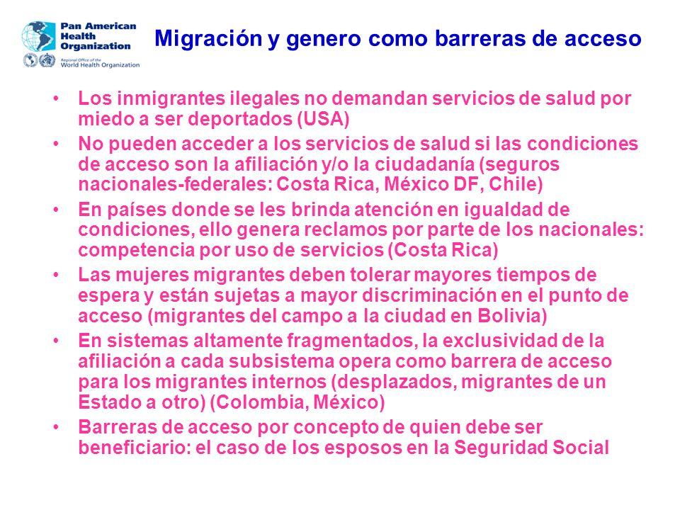 Migración y genero como barreras de acceso Los inmigrantes ilegales no demandan servicios de salud por miedo a ser deportados (USA) No pueden acceder