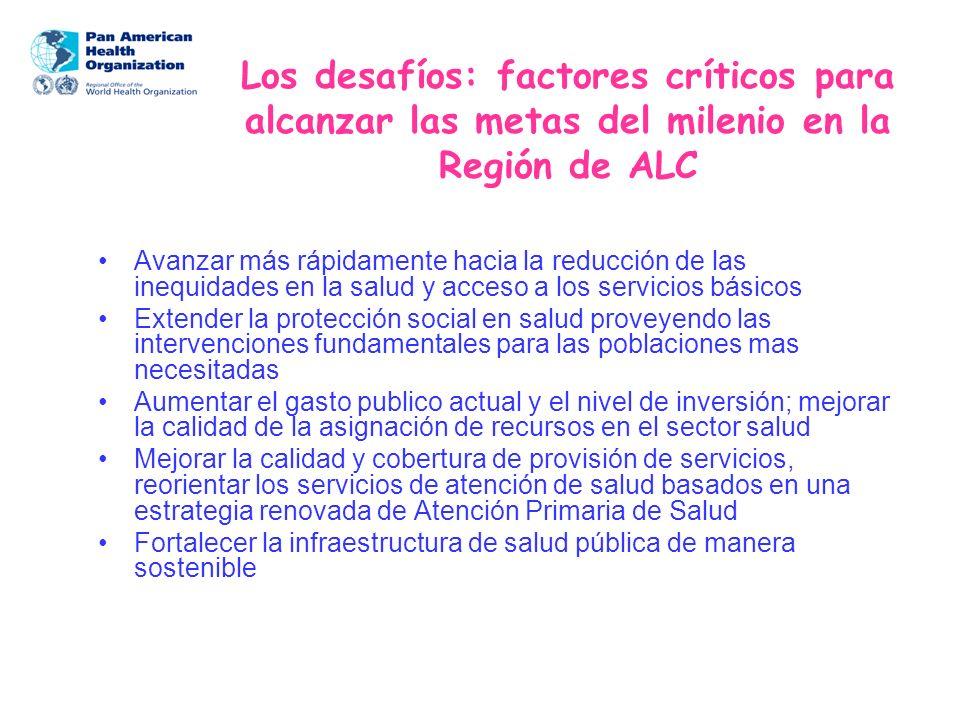 Los desafíos: factores críticos para alcanzar las metas del milenio en la Región de ALC Avanzar más rápidamente hacia la reducción de las inequidades
