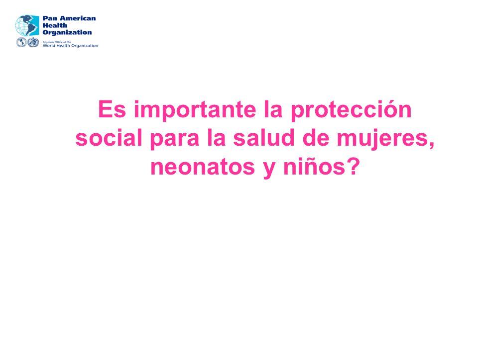 Es importante la protección social para la salud de mujeres, neonatos y niños?