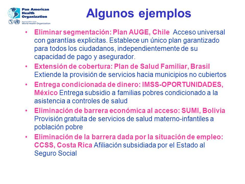 Algunos ejemplos Eliminar segmentación: Plan AUGE, Chile Acceso universal con garantías explicitas. Establece un único plan garantizado para todos los