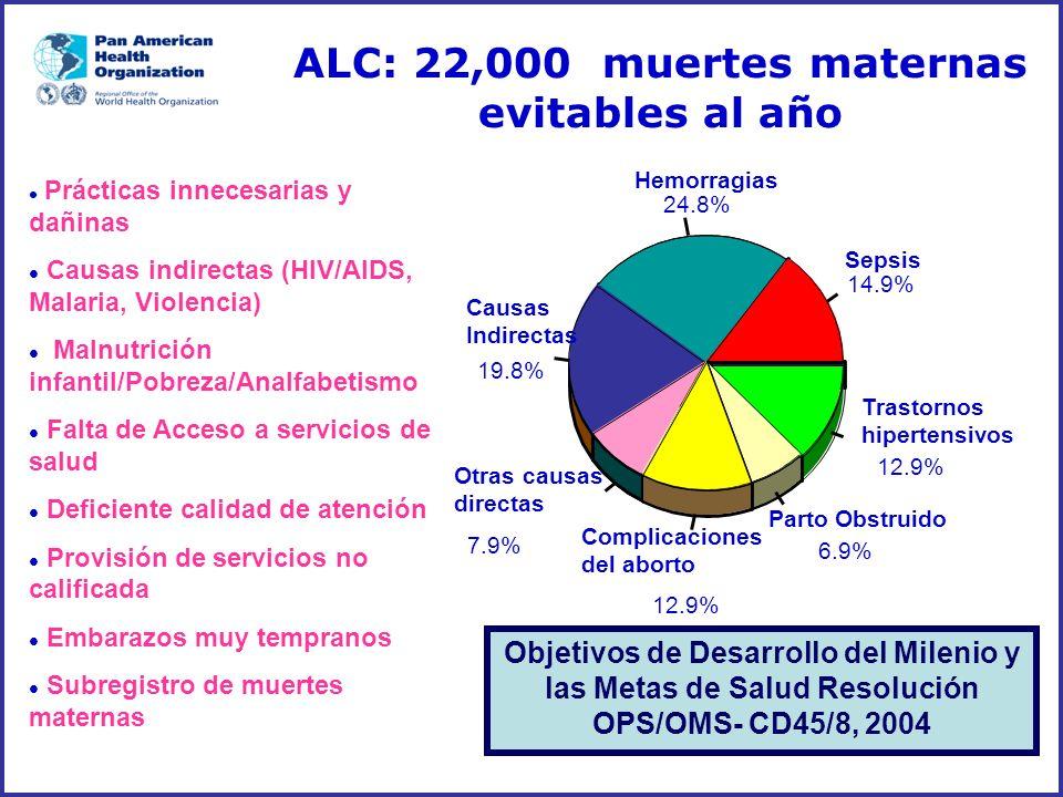 ALC: 22,000 muertes maternas evitables al año l Prácticas innecesarias y dañinas l Causas indirectas (HIV/AIDS, Malaria, Violencia) l Malnutrición inf