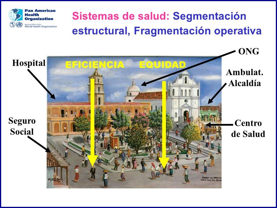 ONG Centro de Salud Seguro Social Hospital Ambulat. Alcaldía EFICIENCIAEQUIDAD Sistemas de salud: Segmentación estructural, Fragmentación operativa