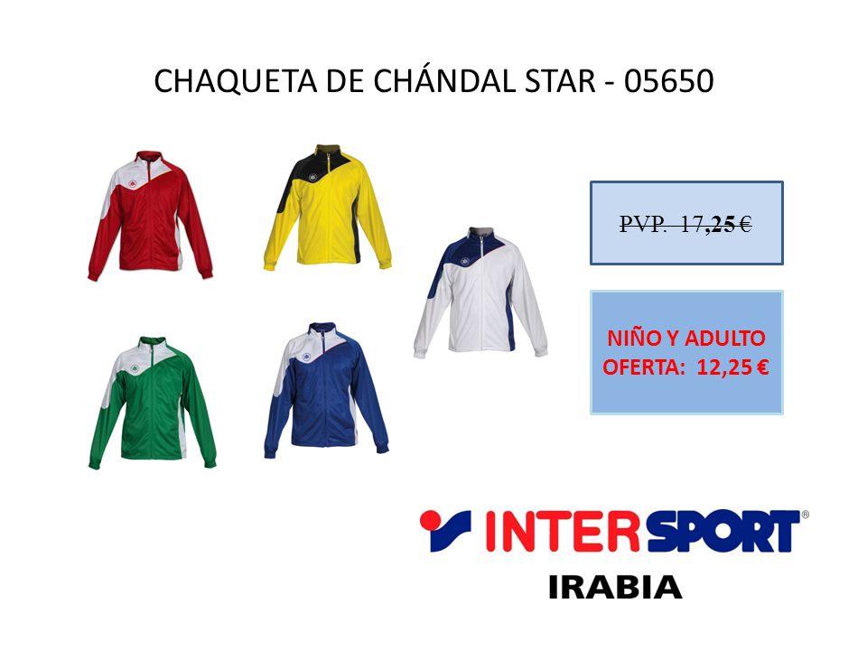 CHAQUETA DE CHÁNDAL STAR - 05650 PVP. 17,25 NIÑO Y ADULTO OFERTA: 12,25