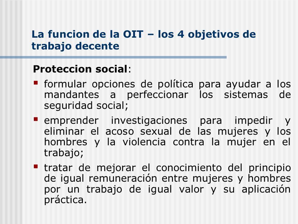 La funcion de la OIT – los 4 objetivos de trabajo decente Proteccion social: formular opciones de política para ayudar a los mandantes a perfeccionar