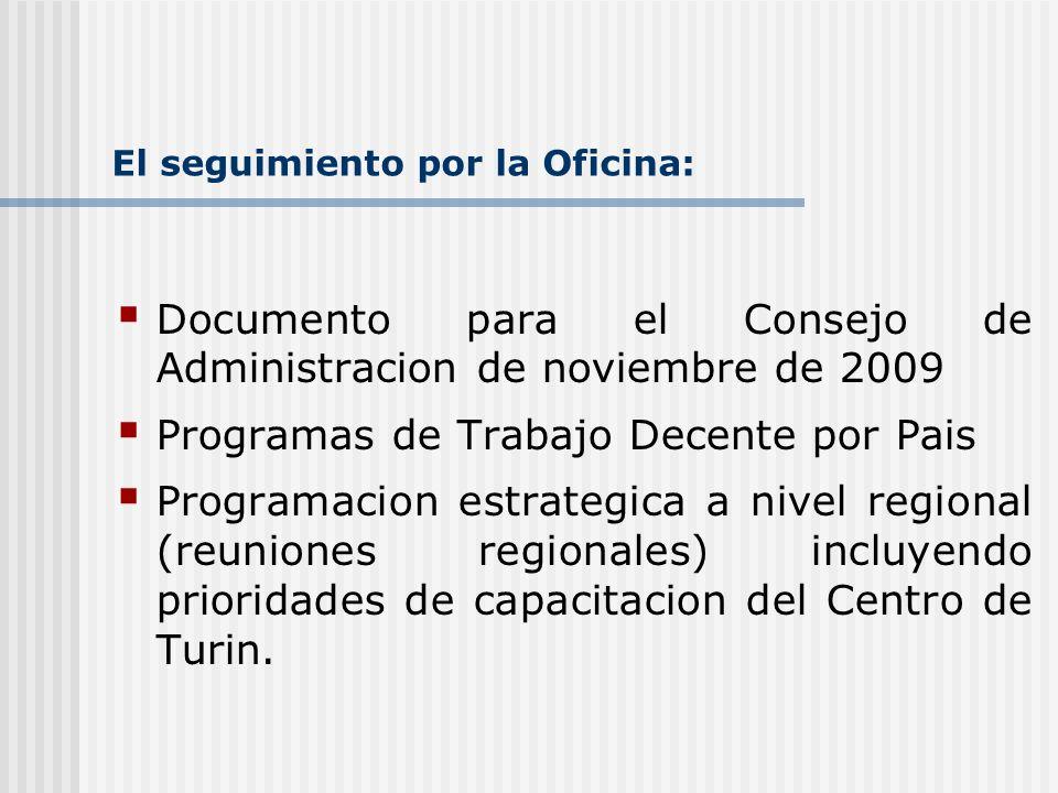 El seguimiento por la Oficina: Documento para el Consejo de Administracion de noviembre de 2009 Programas de Trabajo Decente por Pais Programacion est